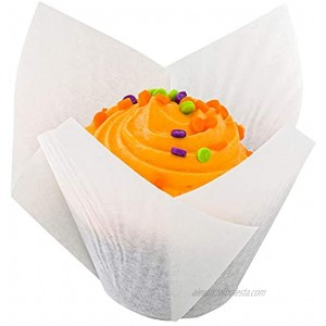Tulip Petal Baking Cups: Small 0.4-oz Grease Proof Paper Baking Cup Perfect for Muffins Cupcakes or Mini Snacks Sugar White Disposable and Recyclable 200-CT Restaurantware