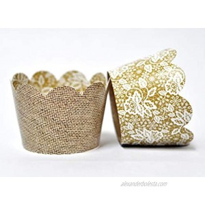 Burlap Cupcake Wrappers for Weddings Birthday Parties Anniversary Celebrations Bridal Showers and Rustic Parties. Set of 24 Reversible Jute Burlap to Lace print Scalloped Cup Cake Holder Wrap